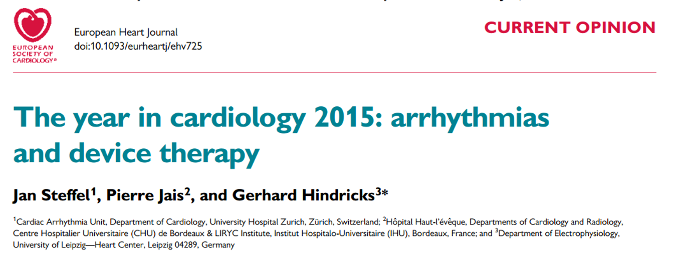 The year in cardiology 2015: arrhythmias and device therapy