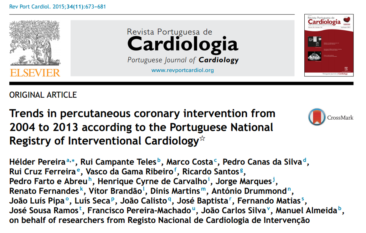 Trends in percutaneous coronary intervention from 2004 to 2013 according to the Portuguese National Registry of Interventional Cardiology