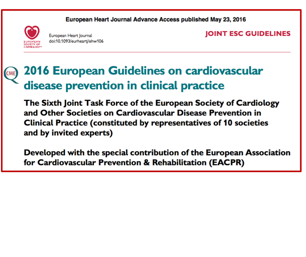 2016 European Guidelines on cardiovascular disease prevention in clinical practice
