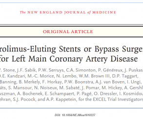 Everolimus- Eluting Stents or Bypass Surgery for Left Main Coronary Artery Disease